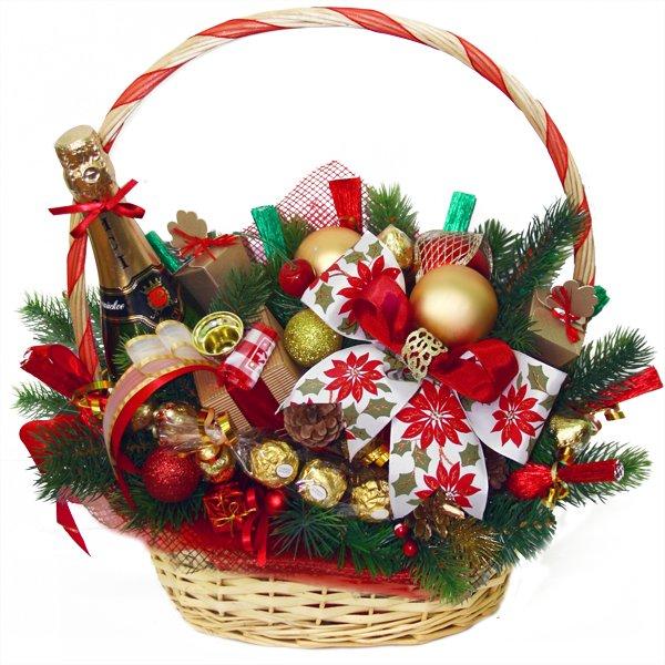 Корзинка с конфетами своими руками новогодняя